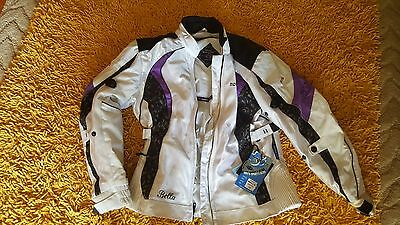 Motorcycle jacket Motodry Bella ladies size 14 white and purple Brand New