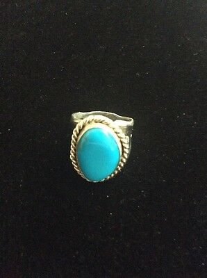 Vintage Sterling Silver NAVAJO Turquoise Men's Ring Size 10.5