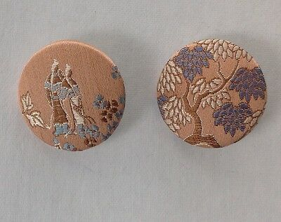 """Pair of Vintage Japanese Fabric Covered Buttons, 1 1/2"""",  38mm"""