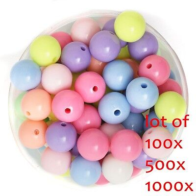 1000X Mixed Color Acrylic Plastic Smooth Round Ball Loose Spacer Beads 8mm US