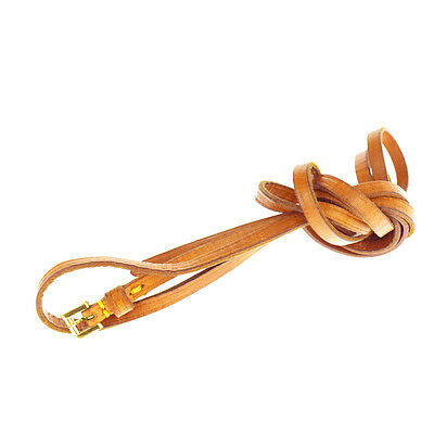 Authentic LOUIS VUITTON LV Thin Belt Strap Leather Brown Gold France Gold 03R513