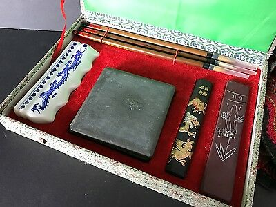 Old Chinese Calligraphy Set in Presentation Box …nice collection set