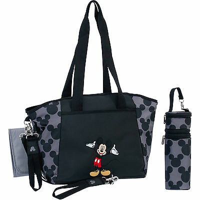 Petunia Pickle Disney Baby Mickey Mouse Black Gray Diaper Bag Tote 5 in 1 New