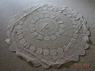 45 inches Round Hand Cotton Crochet Doily Placemats/table cloth in Beige