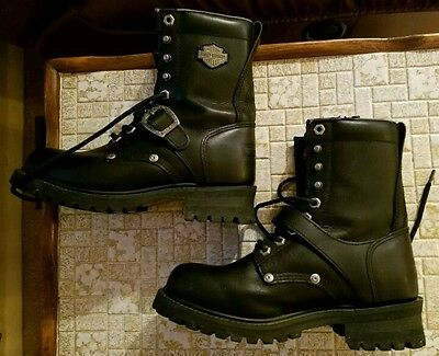 HARLEY DAVIDSON Motorcycle Leather Boots - No. 81003 -- Women's Size 8.5 (8 1/2)