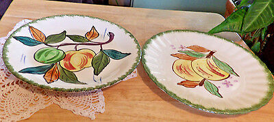 "Lot 2 Blue Ridge Southern Potteries luncheon plates 8"" salad peaches apples PV"