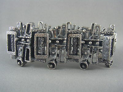 EXQUISITE! Vtg Signed GUY VIDAL Modernist Brutalist Pewter Panel Link Bracelet