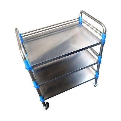 Three Layers Medical Dental Lab Trolley M99G Durable Home/Clinic Stainless Steel
