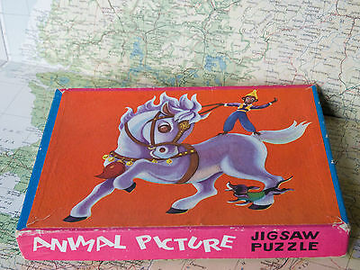 Vintage 3 in 1 Wooden Animal Jigsaw Puzzles In Original Box