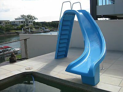 Fibreglass Pool Slide with non-slip steps and Water jet