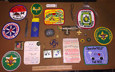 lot of VINTAGE Boy Cub Scouts of America patches pins matches clips BOLO light