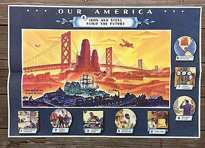 Vintage 1942 Coca Cola Our America Iron & Steel Build The Future Poster