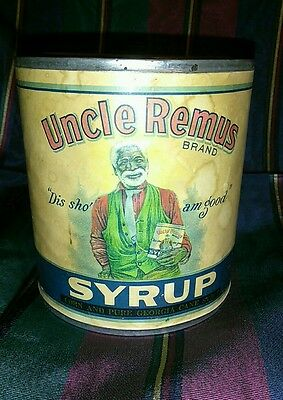 Vintage Black Americana Uncle Remus Brand Syrup Paper Label Can  - Free Shipping