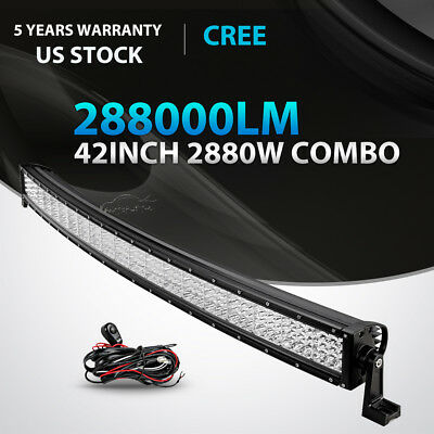 42Inch 1296W Cree Curved Led Light Bar Spot Flood Tri-Row Offroad Driving 4Wd