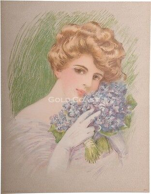 Woman w/Gloves & Lilac Flowers 1910 Victorian Color Litho Print/Chromolithograph