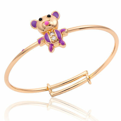 Gorgeous Baby Girls 18K Gfcubic Zirconia Adjustable Hot Pink Teddy Bear  Bangle