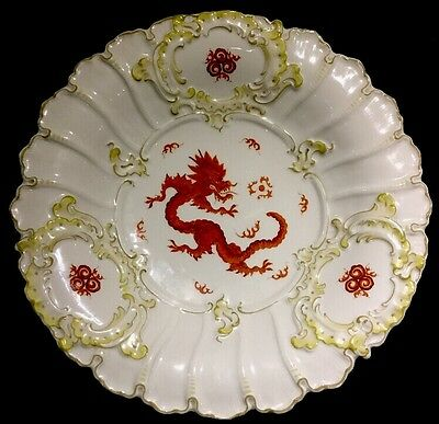 Rare Vintage Meissen Ming Dragon Plate Serving Tray / Dish Crossed Swords Symbol