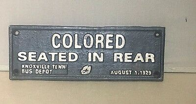 """Cast Iron Black Americana """"COLORED SEATED IN REAR"""" Plaque Wall Sign C2"""