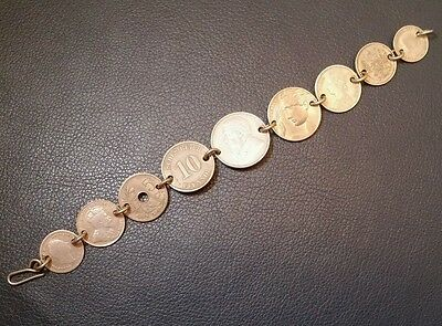 Old silver coin bracelet world coins 1800s 1900s
