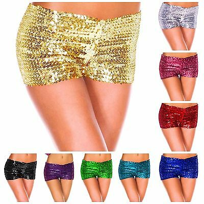 Ladies Sequin Shorts Bling Hot Pants Boy Leg Dance Wear 1980s Costume Party