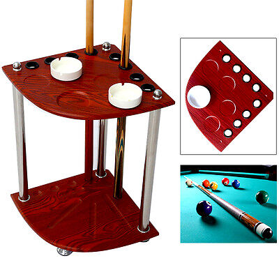 Wooden Pool Snooker Billiard Corner Cue Rack Stand w/Drink Stick Holder+Ashtray