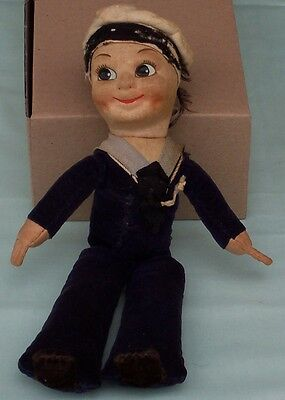 Vintage  Empire Made Cloth Sailor Doll. worn played with condition toy