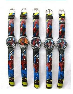 Wholesale 10 pcs mix spiderman children Cartoon clock watch gift