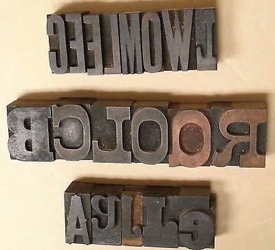 """ANTIQUE WOOD PRINTING PRESS BLOCK TYPE SET - 19 Letters, 1-5/8"""" Tall, 4 Fonts"""