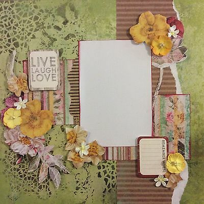 handmade scrapbook page 12 X 12 Live Laugh Love Layout