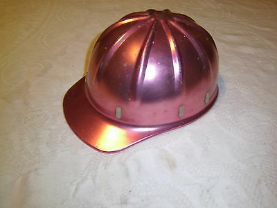 Vintage construction hard hat pink aluminum size 6 1/2 to 8 adjustable