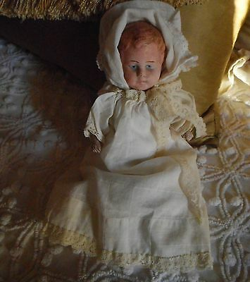 """Antique Vintage  Papier Mache Germany Baby Doll 9"""" tall  As Is"""