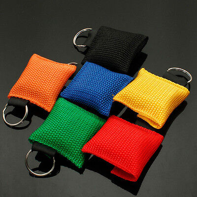 5 colors CPR Mask Keychain Bag Emergency Face Shield First Aid Rescue bag kits