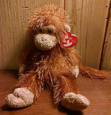 Ty  Zig-Zag 2002 Punkies Brown Monkey Beanie Baby Plush w/ Tags Retired