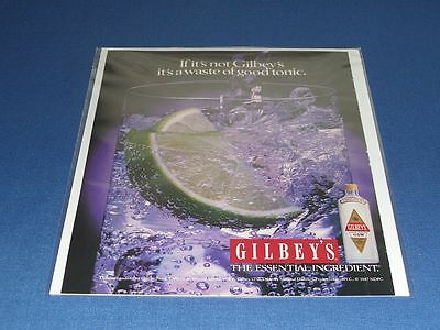 1987 Gilbey's Alcohol & Wine Print Ad | With Clear Bag & Backboard! | #36