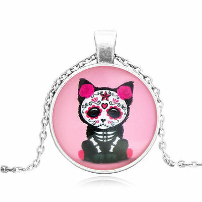 CAT KITTEN DAY OF THE DEAD PINK SITTING SKULL Star Glass Necklace Silver Gothic