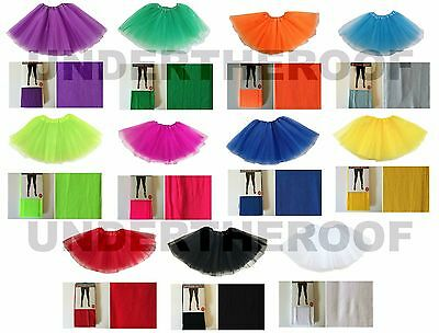 Ladies Neon Fluro TuTu Footless Tights Set 80s Fancy Dress Costume Sports Day