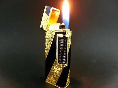 RARE Blue-Lacquer x Gold-Decoration BEAUTIFUL!! DUNHILL Lighter VINTAGE NR