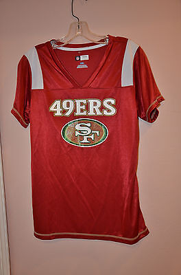 New San Francisco 49ers NFL Women's Large T-shirt Jersey V-neck Red