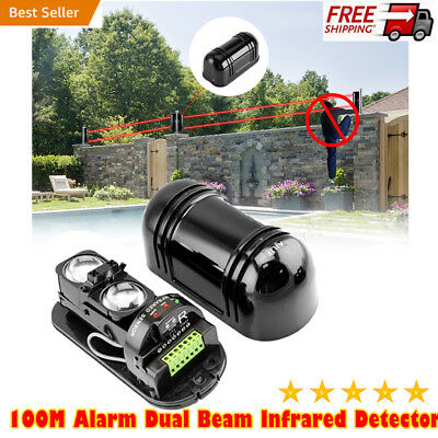Alarm Dual Beam Photoelectric Infrared Detector 100M Home & Garden Security OT