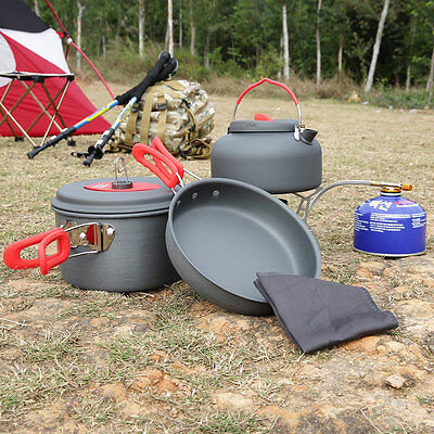 Outdoor Hiking Cooking Picnic Cookware Pan Pot Kettle Dishcloth Set Portable OT