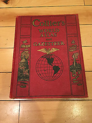 NICE 1938 Collier's World Atlas and Gazeteer w/ Rare Maps Colliers Great Shape