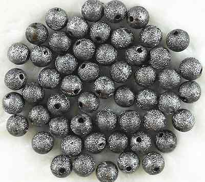 New 80Pcs 8mm Black Color Acrylic Stardust Metallic Glitter Spacer Loose Beads