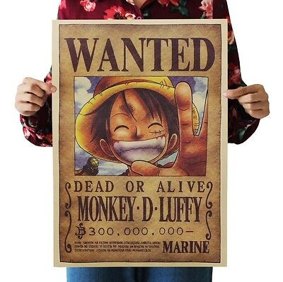 wall sticker ONE PIECE wanted MONKEY.D.LUFFY wall Poster Kraft bar home