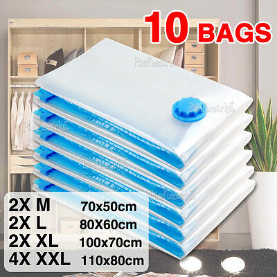 10 X Vacuum Storage Bags Saver Seal Compressing Space Saving Medium Extra Large
