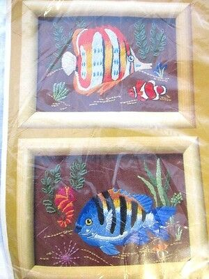 Creative Circle- TROPICAL FISH  -STAMPED CREWEL EMBROIDERY KIT 0241  NIP
