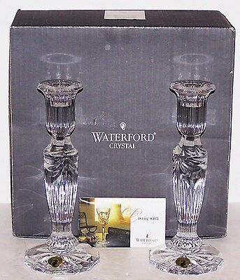 """Stunning Signed Waterford Crystal Prentiss  Pair Of 8"""" Candlesticks In Box"""