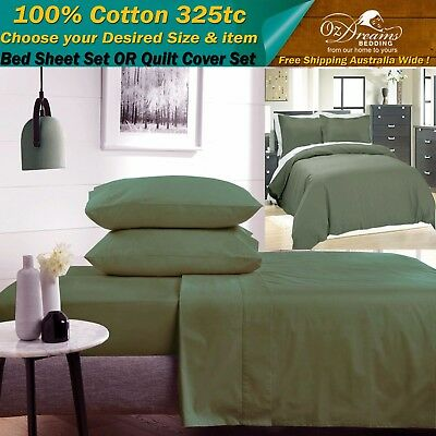 NEW  CHARCOAL GREY 100% COTTON QUEEN SIZE BED SHEET or QUILT DOONA COVER SET