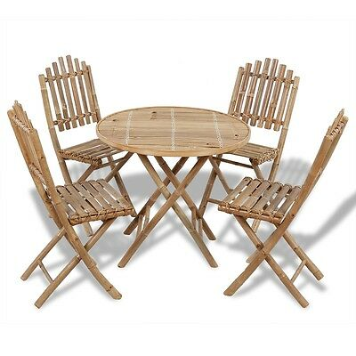 New Foldable Outdoor Bamboo Dining Set 1 Table + 4 Chairs Weather-resistant