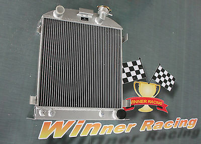 56mm chopped aluminum radiator fit Ford 1932 hot rod w/Chevy 350 V8 engine AT