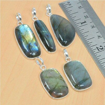 Wholesale 5Pc 925 Solid Sterling Silver Natural Labradorite Pendant Lot